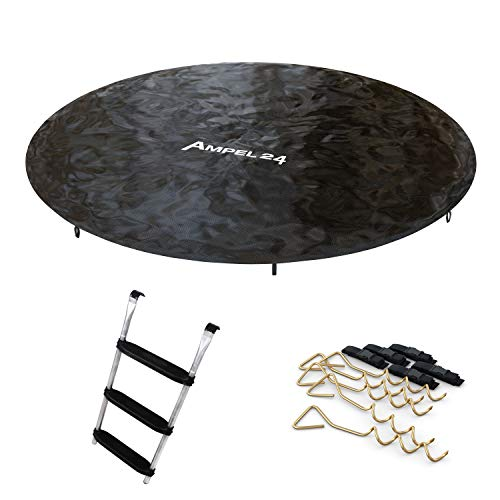 Ampel 24 trampoline-accessoires set 305 cm: Afdekzeil met regenafvoer, ladder met 3 brede traptreden en 5 grondankers om vast te schroeven met verstelbare riem