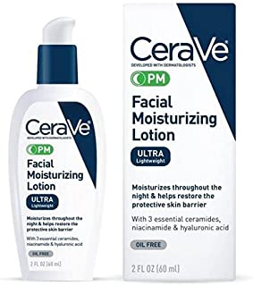 CeraVe PM Facial Moisturizing Lotion   Night Cream with Niacinamide and Hyaluronic Acid   Ultra-Lightweight, Oil-Free Mois...