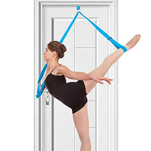 tchrules Leg Stretcher, Door Flexibility & Stretching Leg Strap - Great for Ballet Cheer Dance Gymnastics or Any Sport Leg Stretcher Door Flexibility Trainer Premium Stretching Equipment (Blue)