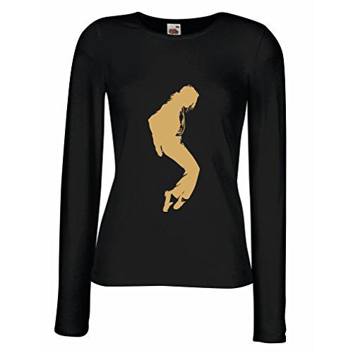lepni.me Camisetas de Manga Larga para Mujer Me Encanta MJ - Ropa de Club de Fans, Ropa de Concierto (X-Large Negro Oro)