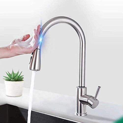 Grifo Cocina Sin contacto grifos de cocina en spray mezclador monomando automática del sensor 360 giratorio de doble modo de spray fregadero de cocina Grifo-cepillado