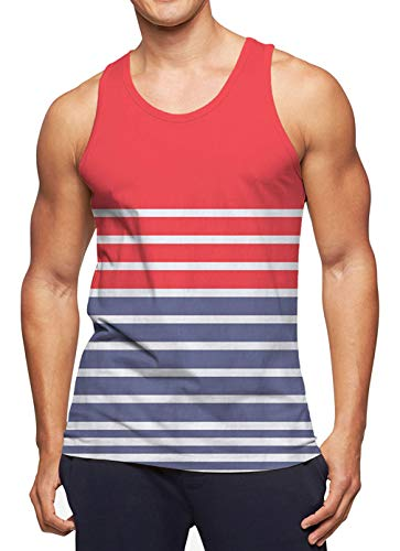 RAISEVERN Men's Tank Tops Red Workout Sleeveless Tee Cool Blue & White Striped Athletic Training Undershirts Colorful Gym Running Shirts Fitness Vest