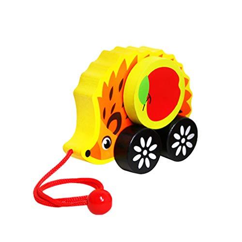 NUOBESTY Kinder Nachziehspielzeug Igel Spielzeug Ziehtier Nachziehtier Holz Push Pull Spielzeug Holzspielzeug zum Ziehen Lauflernhilfe für Baby Jungen Mädchen