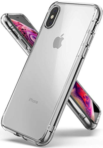 Ringke Coque Compatible avec iPhone XS, Coque Compatible avec iPhone X [Fusion] Transparente Polycarbonate Solide Rigide Back TPU Souple Bumper Étui Antichoc de Protection [Militaire Défense] - Clear
