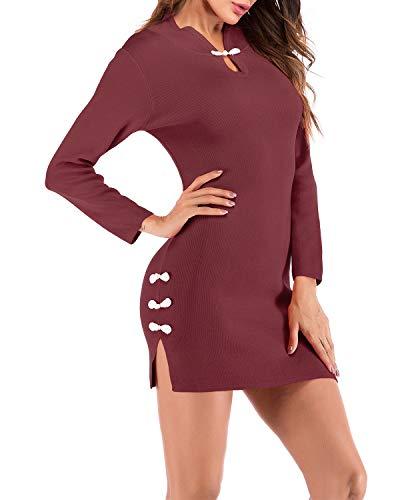 HLL-Dress Vestidos Dirndl Manga Larga Sexy Dividido Punto Mini Vestido Vintage Stand Collar Paquete Hip Vestido de Mujer (Color : Vino Rojo, Size : M)