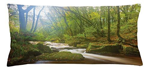 ABAKUHAUS Bosque Funda para Almohada, Paisaje de Bosque Cascada Golitha Reserva Natural Río Fowey Cornwall Inglaterra, Lavable Con Cremallera Colores Firmes Estampa Digital, 90 x 40 cm, Marrón Verdoso