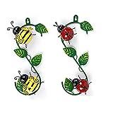 Lrxinki Adorno De Pared De Abeja De Metal, 3D De JardíN para Colgar En La Pared Esculturas Decorativas De Insectos para DecoracióN De La Sala De Estar del Patio De La Pared Al Aire Libre (A+B)
