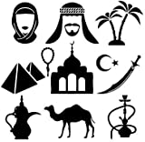 Pegatinas de pared indias árabe cachimba espada humo fumar fresco decorativo vinilo pegatinas de pared camello salón decoración del hogar
