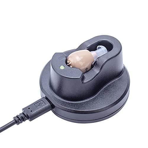 HWZZ Audición Digital: Sonido Personal BTE Recargable con Estación De Acoplamiento USB: Funciones Avanzadas Detrás del Auricular,Negro