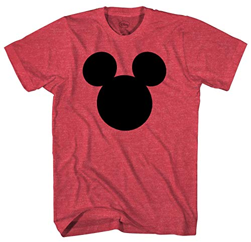 Disney Mickey Mouse Head Silhouette Men's Adult Graphic Tee T-Shirt (Red Heather, XX-Large)