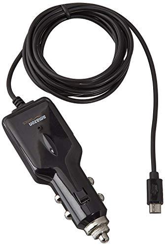AmazonBasics - Cargador de coche universal con conector micro USB para Android (1,5 m)