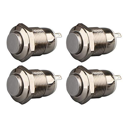 Gebildet 4pcs 12mm 3A 12V/24V/125V/250VCA Autoblocante Interruptor de Botón a Prueba de Agua Interruptor de Botón de Acero Inoxidable Encendido Apagado(Cabeza Alta)