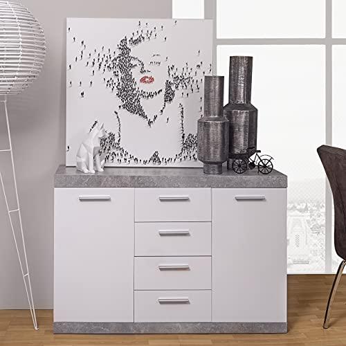 Homely - Mueble aparador de Comedor de 120x38 h. 83 cm. Colección ESCANAR Color hormigón y Blanco.