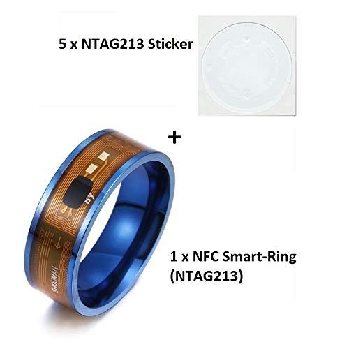 MCalle NFC Smart Ring con NTAG213 (180 Byte) Chip en los tamaños de Estados Unidos 6 – 13 Incluye 5 x NTAG213 (180 Byte) Pegatinas