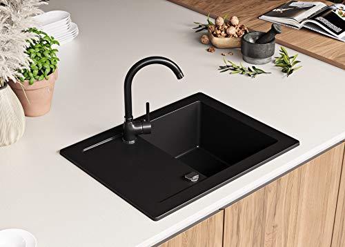 Granitspüle mit Siphon Ibiza Einbauspüle Spülbecken Schwarz Küchenspüle Unterschrank Küche ab 45cm Spüle aus Granit mit Ablaufgarnitur Drehexcenter und Überlauf von Primagran