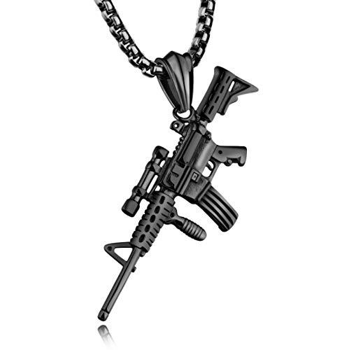 Hip-Hop Punk Personalidad Pistola De Acero De Titanio Negro ColganteCollar De Acero Inoxidable Masculino De ModaAk47Colgante Joyería Regalo De Cumpleaños
