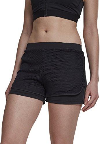 Urban Classics Damen Ladies Double Layer Mesh Shorts, Schwarz (Black 00007), 38 (Herstellergröße: M)