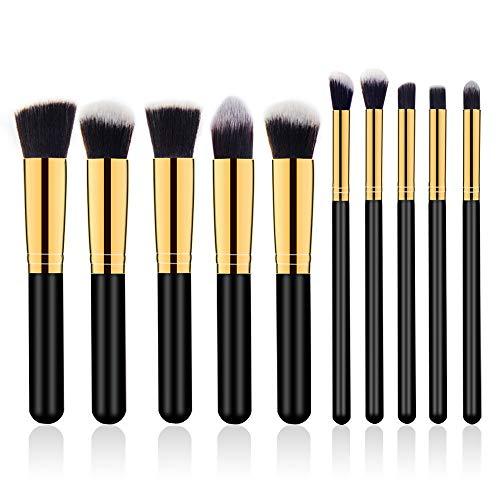 ZHAOXINPA Lot de 10 pinceaux de maquillage synthétiques professionnels pour le visage et les yeux, a