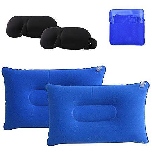 INTVN 2 x Almohada Inflable de Playa, 2 x Antifaz para Dormir, Almohada de Camping Ultraligera Portátil con Bolsa de Transporte para Acampar/Viajar/Oficina