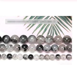CHENTAOCS Black Hair Quartz Matte Charming Rutilated Quartz 4 6 8 10 12mm Pick Size Faceted Gemstone Beads (Color : 3A Smooth, Item Diameter : 4 5mm95pcs 1lot)