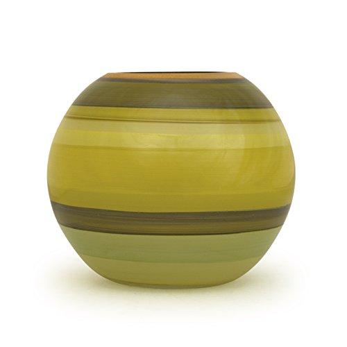 Angela nieuwe Weense werkstaette glazen vaas veredeld bolvorm, glas, geel/groen, 14 x 14 x 14 cm