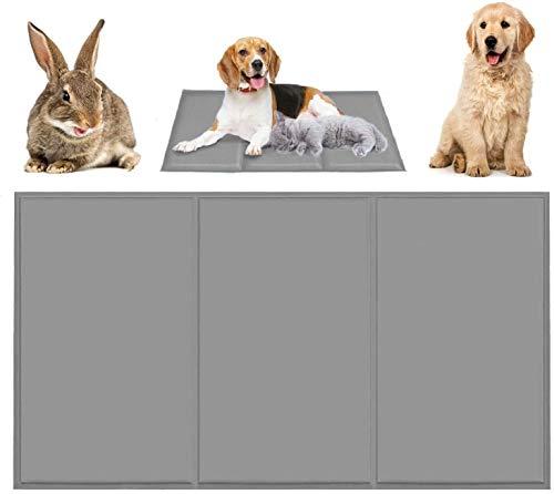 Qisiewell Esterilla de refrigeración para perros y gatos, color gris XL, 80 x 120 cm, manta de gel frío, esterilla autorefrigerante