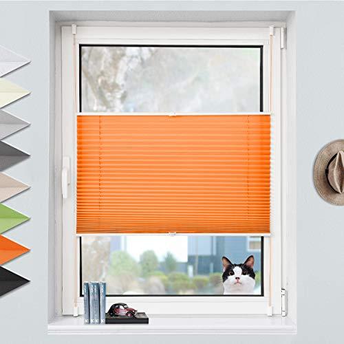 Grandekor Plissee Klemmfix Plisseerollo ohne Bohren (45x130cm Orange), Fensterrollo Faltrollo Easyfix lichtdurchlässig Sicht- & Sonnenschutz für Fenster & Tür