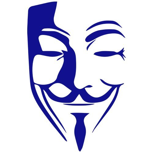 Set of 3 - Guy Fawkes Anonymous Mask Decal Sticker Color: Blue- Peel and Stick Vinyl Sticker