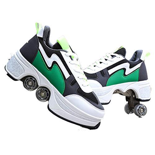 BCXS Mehrzweckschuhe mit Rollen Schuhe mit Ausklappbaren Rollen, Rollschuhe Kinder Quad-Rollschuh-Stiefel, EU33