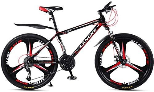 HCMNME Bicicletas de montaña, Bicicleta Variable Variable de Bicicleta de montaña de 26 Pulgadas y Femenina Bicicleta de Tres Ruedas Cuadro de aleación con Frenos de Disco