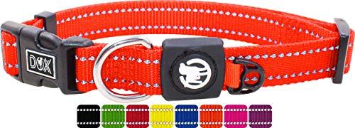 DDOXX Collar Perro Nylon, Reflectante, Ajustable   Muchos Colores & Tamaños   para Perros Pequeño, Mediano y Grande   Collares Accesorios Gato Cachorro   Naranja, XS