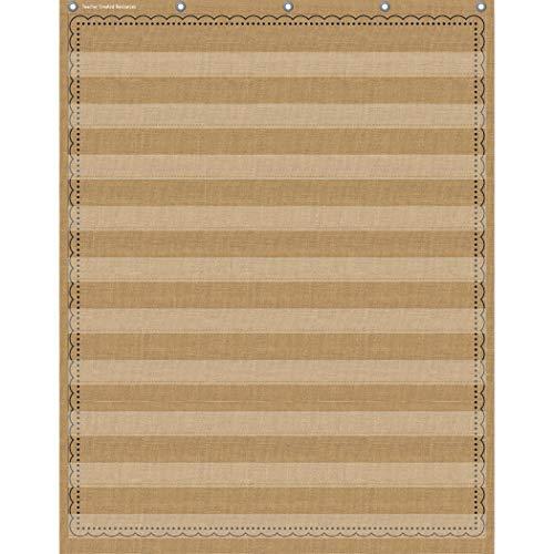 "Burlap 10 Pocket Pocket Chart (34"" x 44"")"