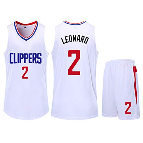 Kawhi Leonard # 2 Los Angeles Clippers Jersey de alto rendimiento para entrenamiento atlético suave para la escuela secundaria juvenil conjuntos running ligero gimnasio 4XS-5XL blanco negro, Calle, Niños, color blanco, tamaño 4XL