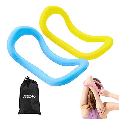 JEEZAO 2 Stück TPE Yoga Ausrüstung Doppelgriff Pilates Yoga Ring Fitness Kreis Trainings Widerstand Stützwerkzeug Dual Grip Übungskreis für Fettverbrennung (Gelb + Blau)