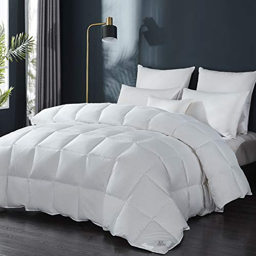 SHEONE Luxurious All Seasons Goose Down Comforter King Duvet Insert, 100% Cotton Cover 650+ Fill Power, 42 Oz Fill Weight, Hypo-allergenic (King)