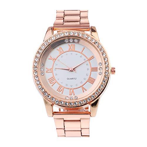 Souarts Damen Einfach Edelstahl Armbanduhr Silber Gold Rosegold Farbe Quarzuhr Analog mit Batterie (Weiss Rosegold)