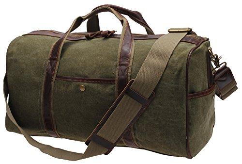 IBLUE Large Canvas Weekend Travel Duffel Bag Overnight Bag Vintage Leather Tote Airplane Carryon Luggage Handbag Gym Sports Shoulder Bag