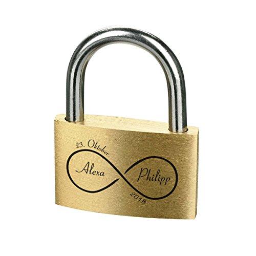 polar-effekt Liebesschloss mit Gravur - Messing Vorhängeschloss mit 3 Schlüssel - Personalisierte Geschenk für Paare & Verliebte - Motiv Unendliche Liebe