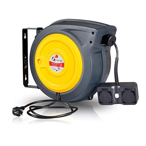 G Enrollacables Tambor Carrete Alargador de Cable Eje inteligente 1.5mm² x 15m Carrete de cable de alto rendimiento con soporte giratorio