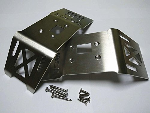 CrazyRacer Stainless Steel Front + Rear Skid Plate Chassis Armor -2PCS for H-P-I 1/8 Savage Flux HP XL 4.6 5.9