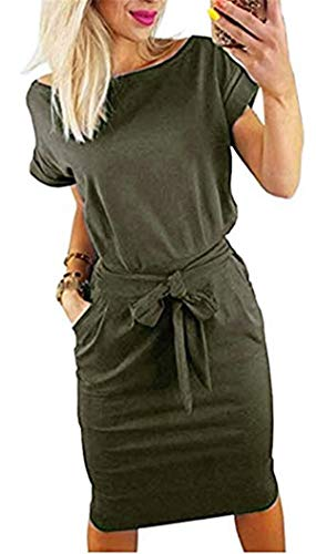 Smile Fish Women's Striped Elegant Short Sleeve Midi Dresses Pockets Casual Pencil Dress with Belt (S, Army Green3)