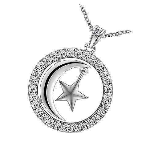 Collar de estrella de la luna de plata de ley 925 con cristal para mujeres y hombres, redondo de moda E Moon Star