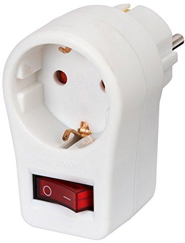 Brennenstuhl Steckdosenadapter, Schutzkontaktsteckdose mit Schalter (Zwischenstecker mit erhöhtem Berührungsschutz) weiß