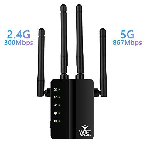 Wodgreat WLAN Verstaerker 1200Mbit/s WLAN Verstärker Signalverstärker WiFi Repeater 5GHz 867Mbit/s 2,4GHz 300Mbit/s Wireless Signal Range Extender LAN Ausgang und Eingang