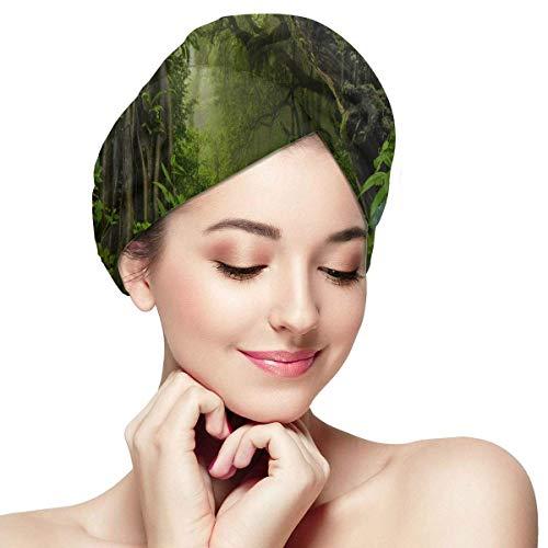 QHMY Vert Arbre Jungle Tapisserie Forêt Serviette Wraps pour Cheveux Cheveux Serviette Wrap pour Femmes Doux Absorbant Séchage Rapide Cheveux Sèche Turban Cheveux Serviettes Wrap Cheveux Secs Chapeau