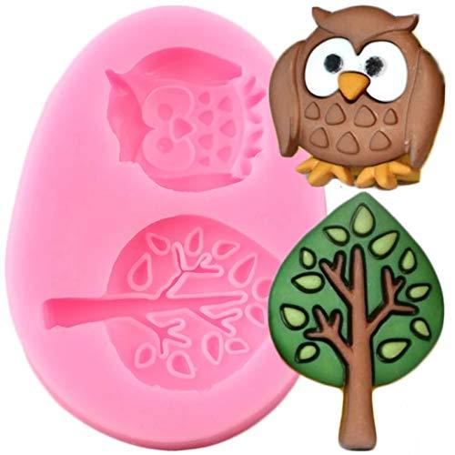 SKJH Niedliche Wald Eule Baum Silikon Formen Baby Geburtstag Cupcake Topper Fondant Kuchen Dekorationswerkzeuge Candy Chocolate Moulds