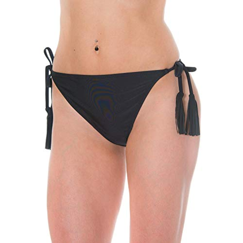 Aquarti Damen Bikinihose Seitlich Gebunden Fransen, Farbe: Schwarz, Größe: 42