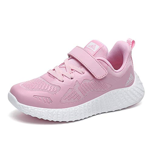 Dannto Zapatillas de deporte para niños, zapatillas de malla, transpirables, para interiores, para exteriores, para correr, para primavera y verano, color Rosa, talla 31 EU
