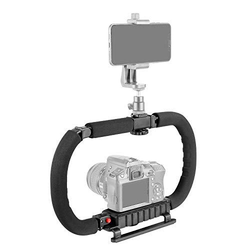 Neewer Estabilizador Cámara DSLR/Acción Soporte Teléfono para Video Vlog 2 Manos Aparejo Disparo en Posición Baja Montaje en Cámara Fija Agarre Desmontable Compatible con GoPro