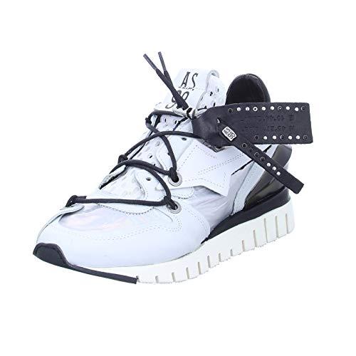 Damen Sneaker A.98 A13101 Freizeitschuh Lederschuh Halbschuh weiß (Combi 18 Bianco)